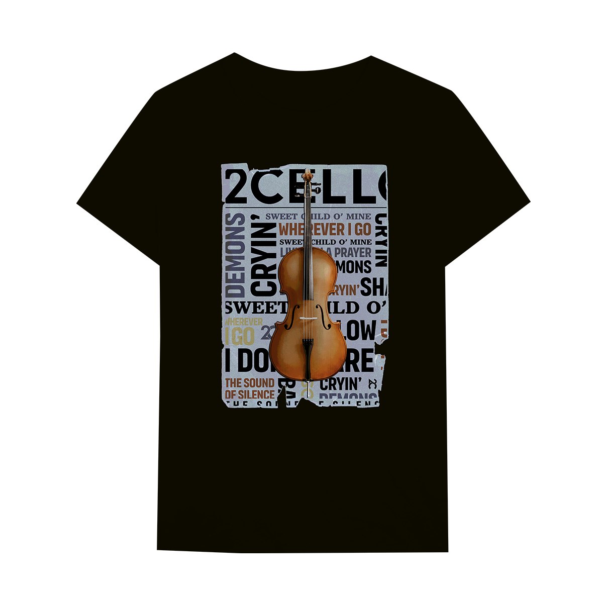 Buy Online 2 Cellos - 2CELLOS Cello Newspaper Black T-Shirt
