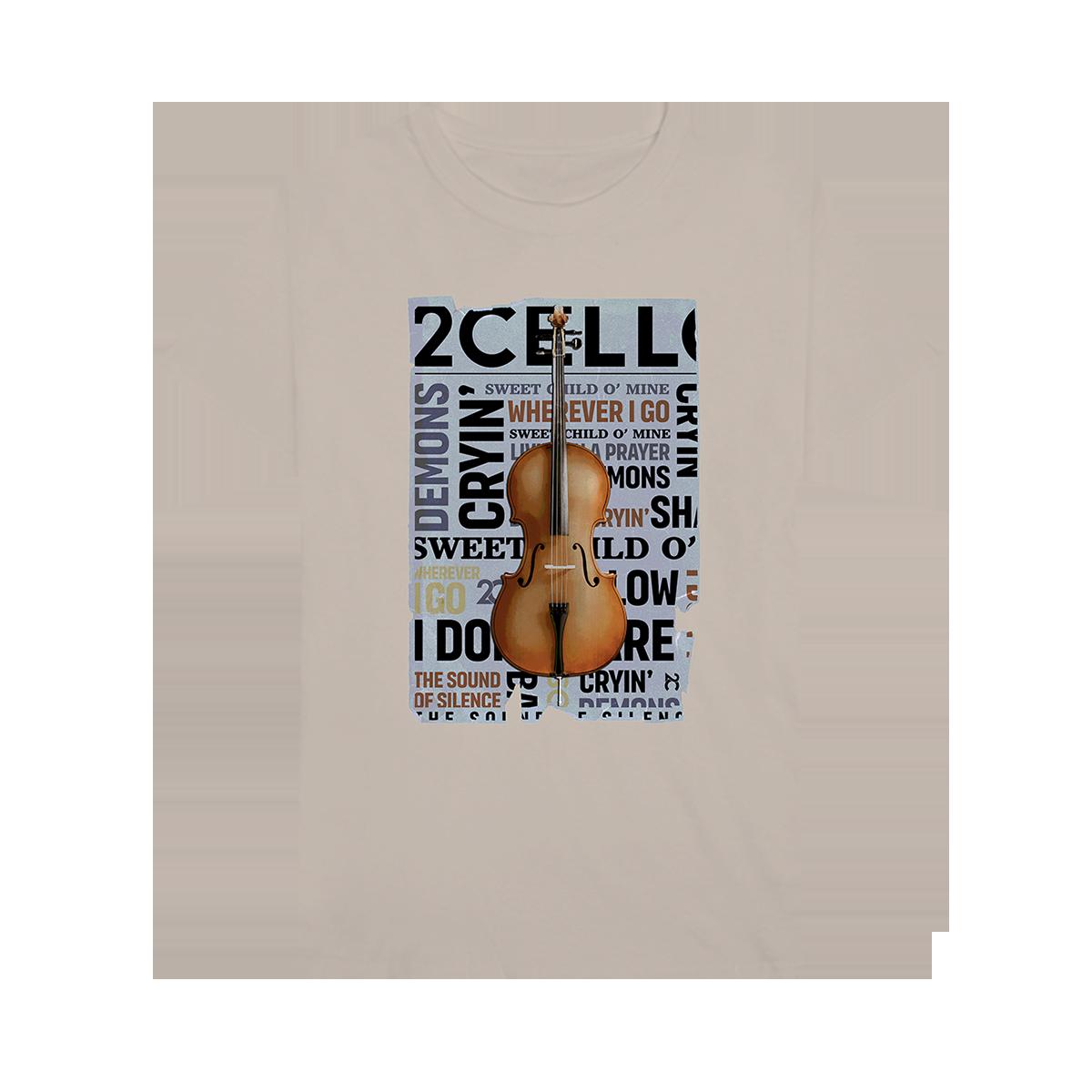 Buy Online 2 Cellos - 2CELLOS Newspaper Tan T-Shirt
