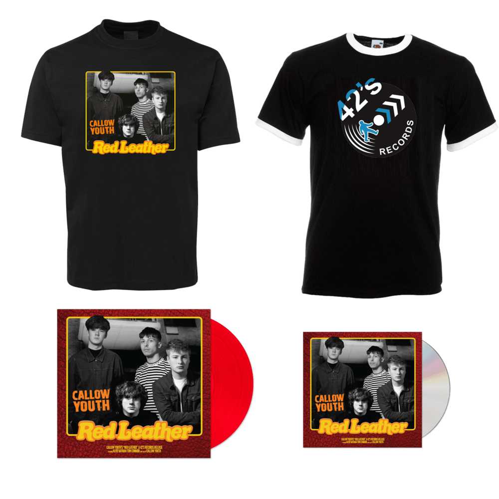 """Buy Online Callow Youth - Red Leather CD + 7"""" Single + Callow Youth T-Shirt + 42's Records T-Shirt"""