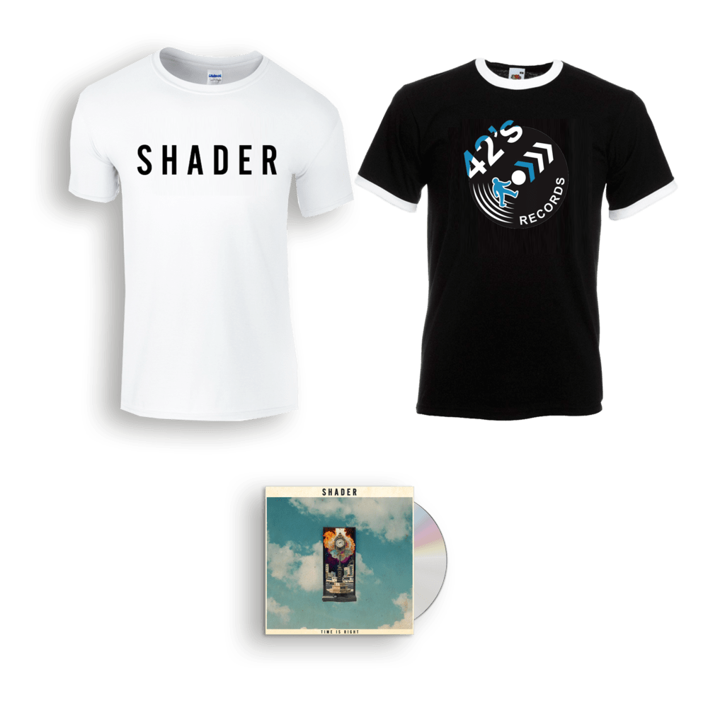 Buy Online Shader - Time Is Right CD + SHADER Logo T-Shirt + 42'S Records T- Shirt