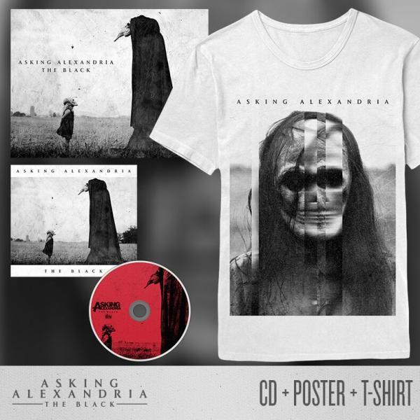 Buy Online Asking Alexandria - The Black CD + Poster + White T-Shirt Bundle