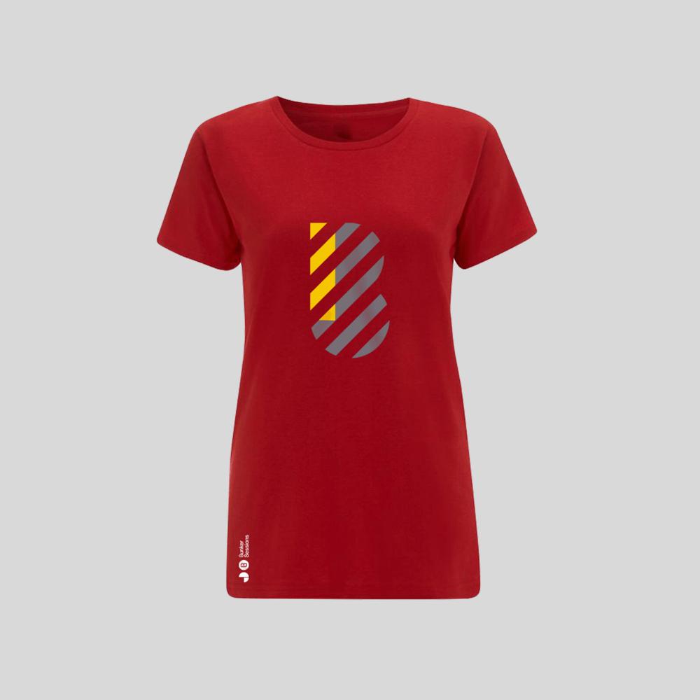 Buy Online Bedrock Music - Bunker Ladies T-Shirt Red (Inc. Sticker)