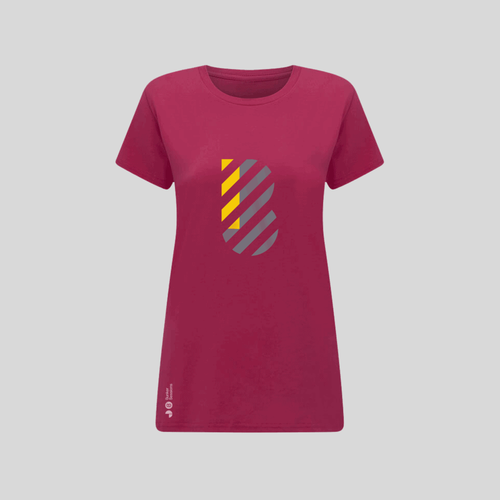 Buy Online Bedrock Music - Bunker Ladies T-Shirt Pink (Inc. Sticker)