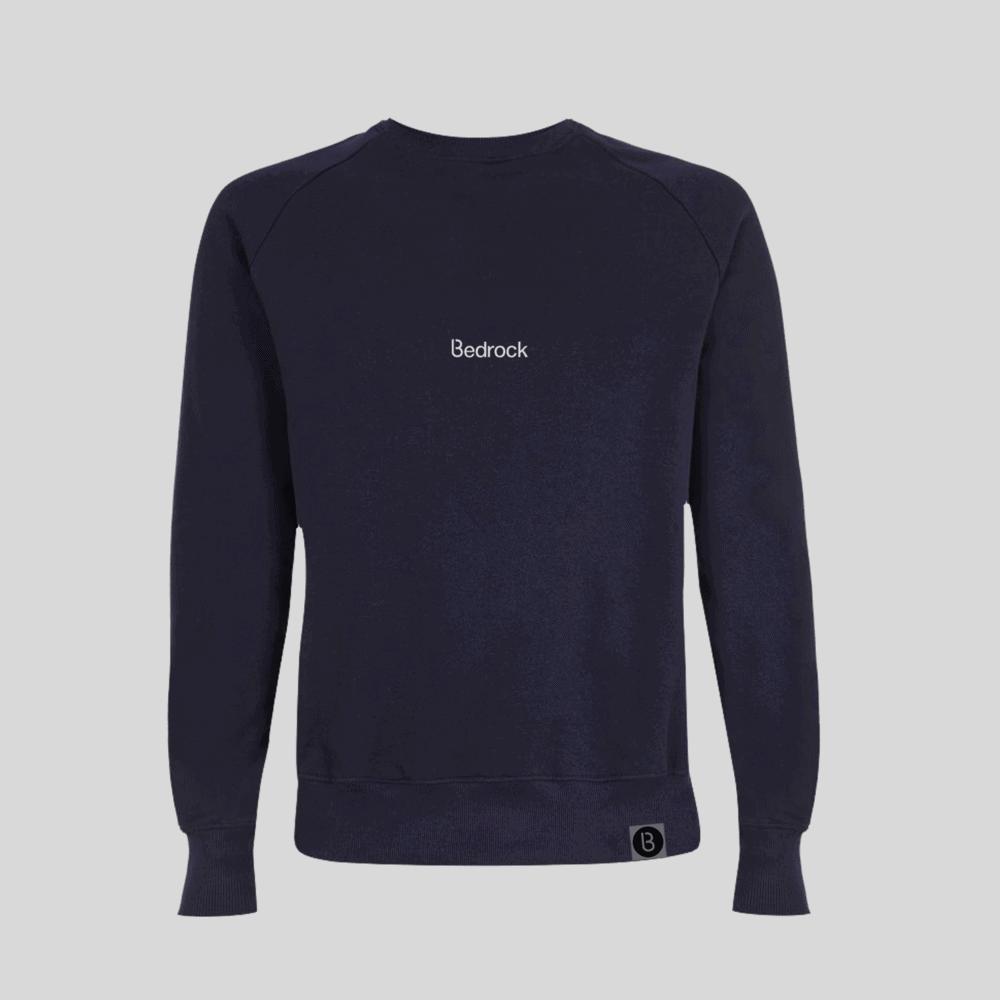 Buy Online Bedrock Music - Bedrock Embroidered Navy Blue Sweatshirt Sweatshirt