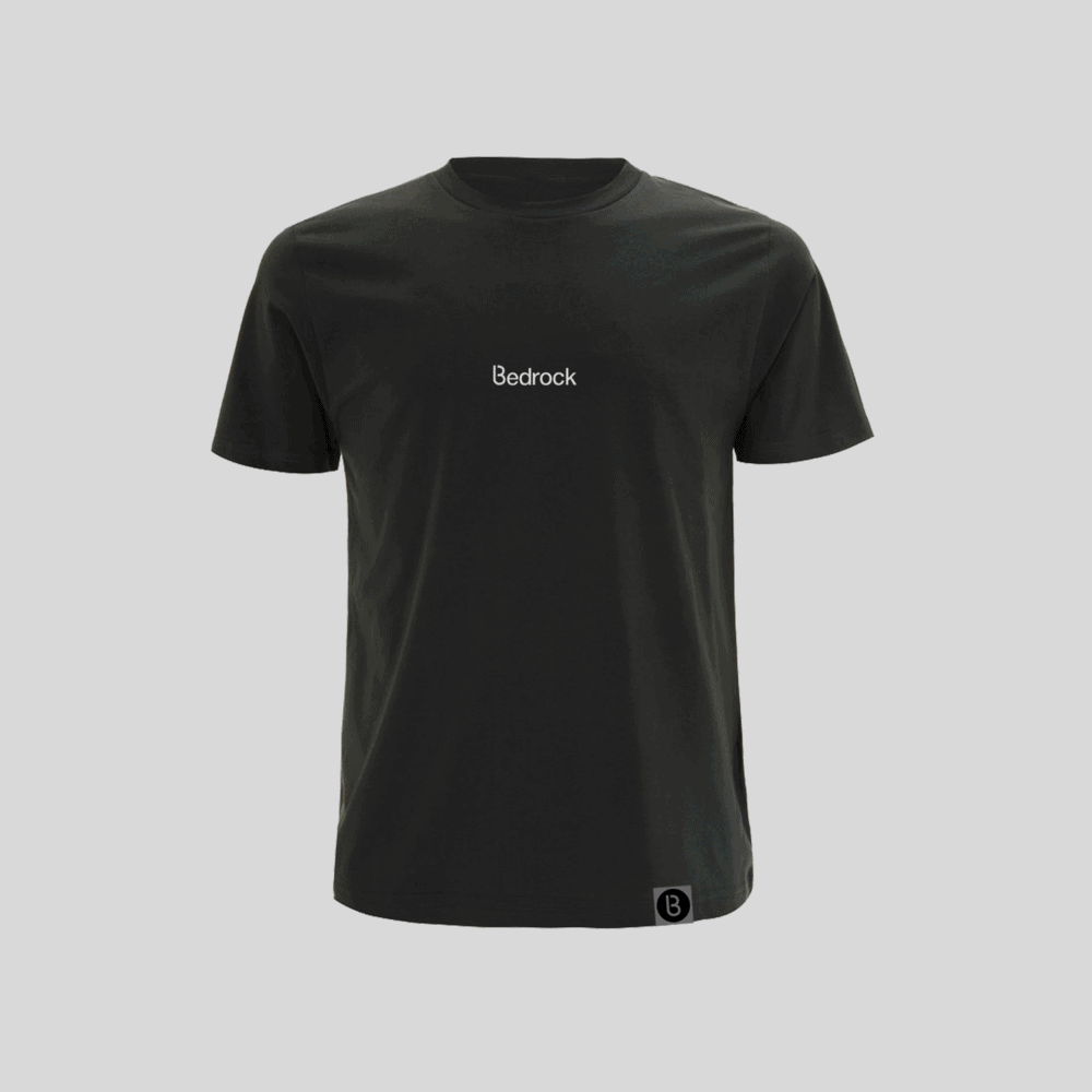 Buy Online Bedrock Music - Bedrock Embroidered Charcoal Grey T-Shirt