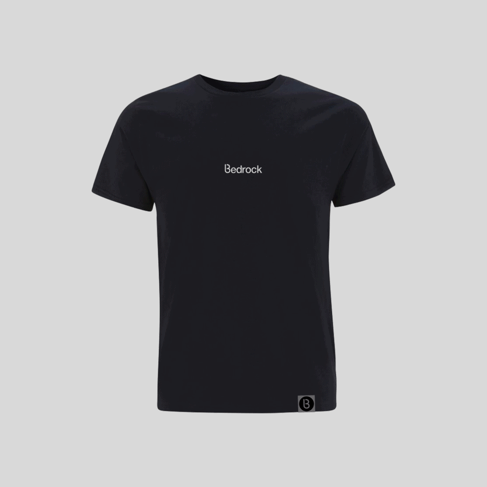 Buy Online Bedrock Music - Bedrock Embroidered Navy Blue T-Shirt