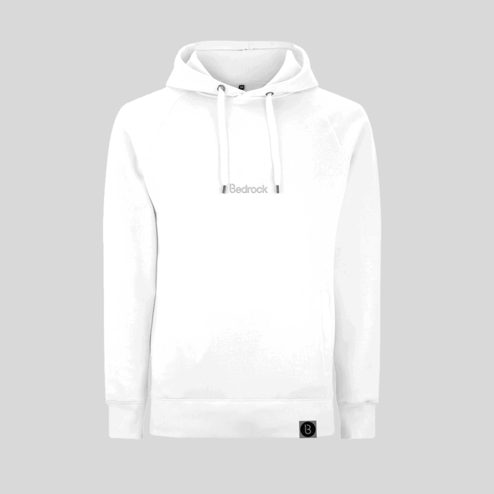 Buy Online Bedrock Music - Bedrock Embroidered White Hoodie