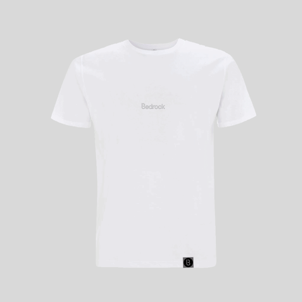 Buy Online Bedrock Music - Bedrock Embroidered White T-Shirt