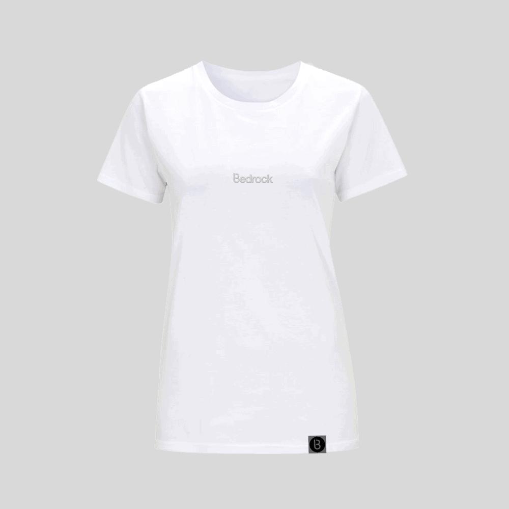 Buy Online Bedrock Music - Bedrock Embroidered White Ladies T-Shirt