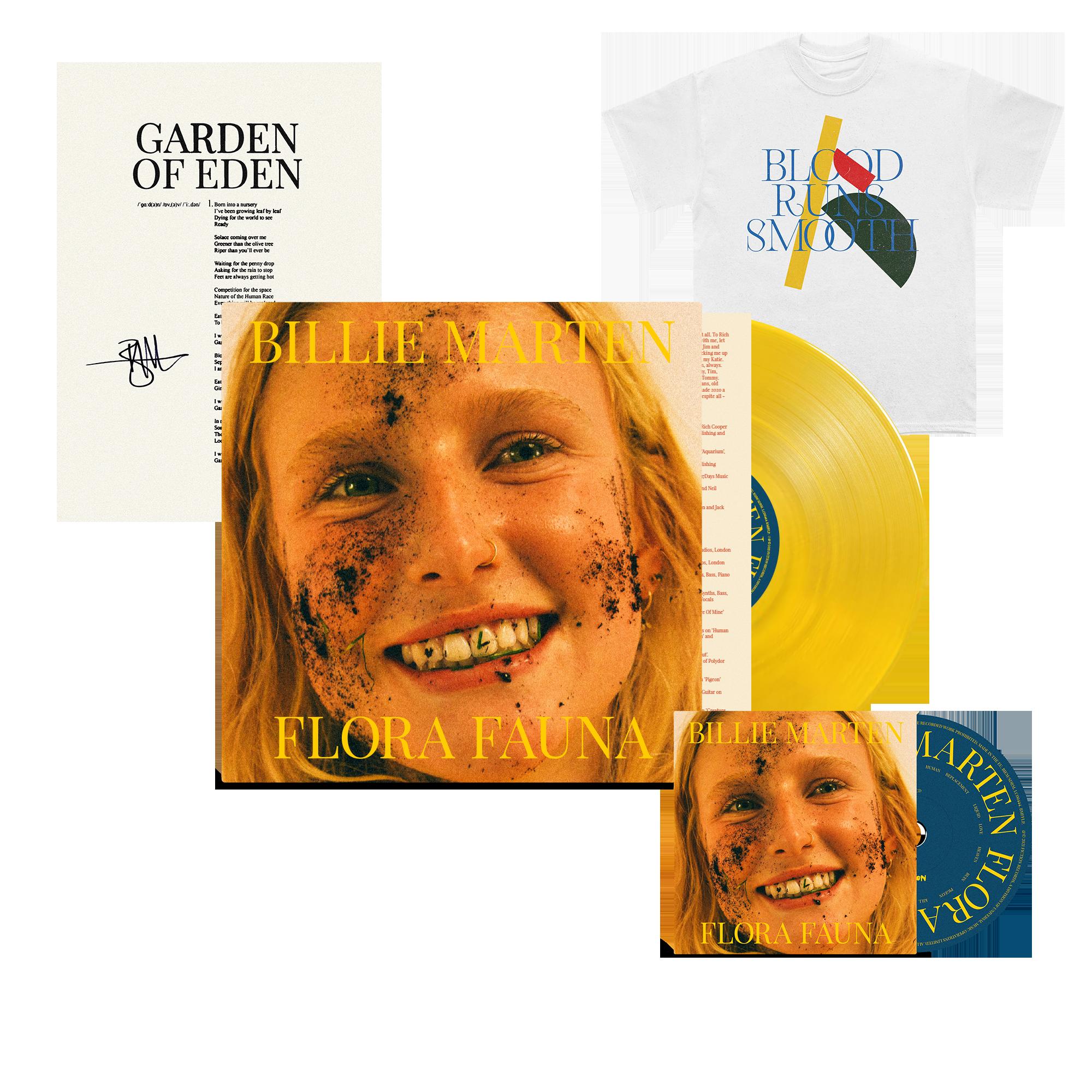 Flora Fauna CD + Transparent Sun Yellow Vinyl + Blood Runs T-Shirt + Signed Lyric Sheet