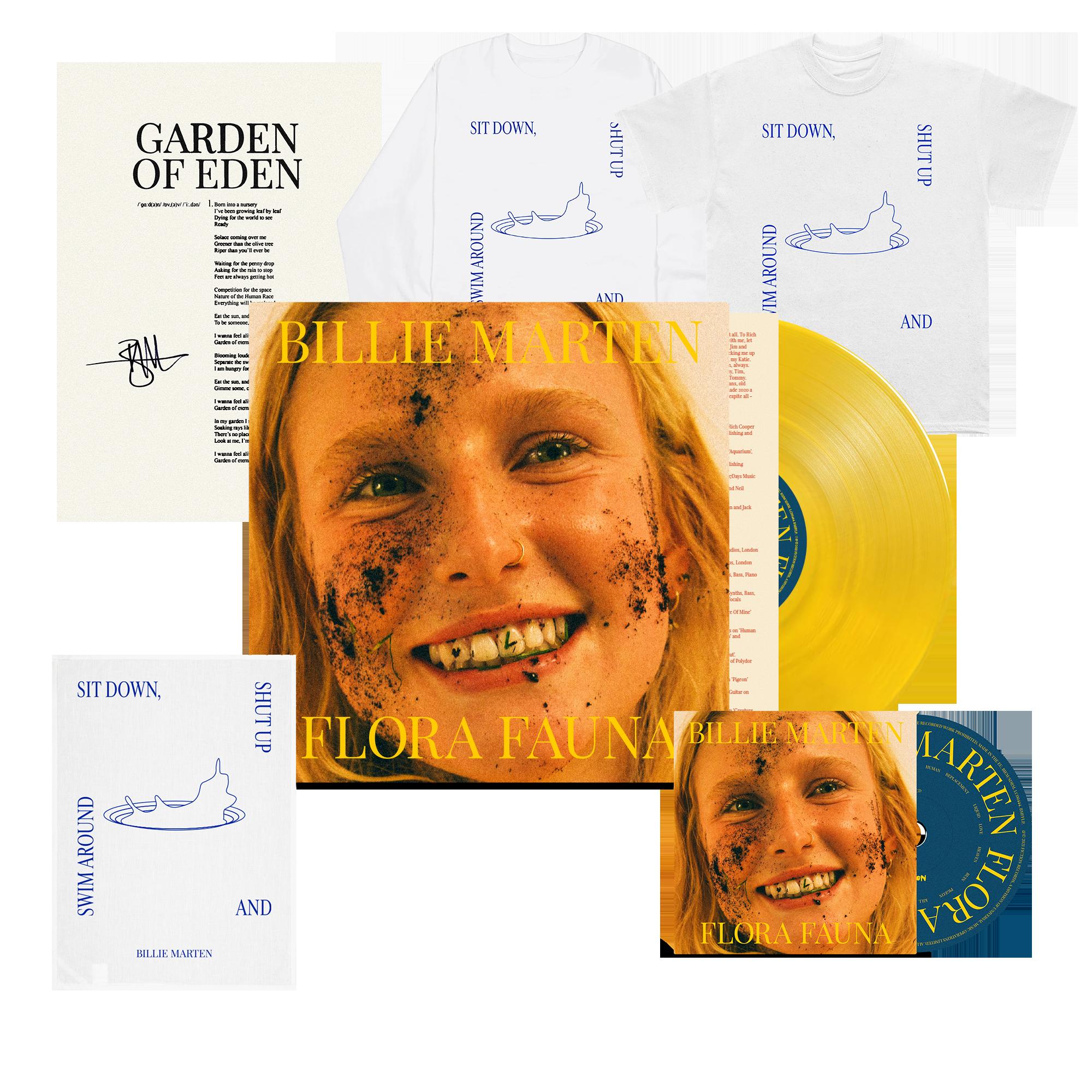Flora Fauna CD + Transparent Sun Yellow Vinyl + Sit Down T-Shirt + Long Sleeve + Tea Towel + Signed Lyric Sheet