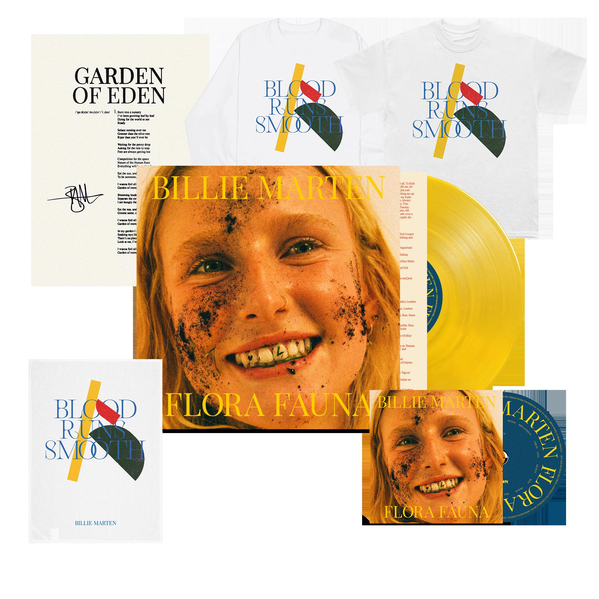 Flora Fauna CD + Transparent Sun Yellow Vinyl + Blood Runs T-Shirt + Long Sleeve + Tea Towel + Signed Lyric Sheet