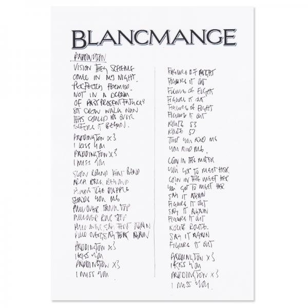 Buy Online Blancmange - Handwritten Lyrics Sheet (Signed)