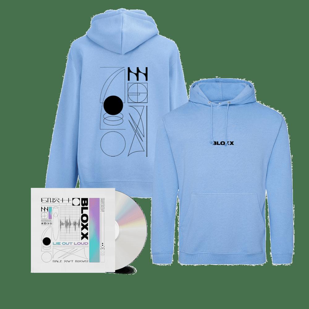 Buy Online Bloxx - Lie Out Loud CD (Signed) + Lie Out Loud Blue Hoodie