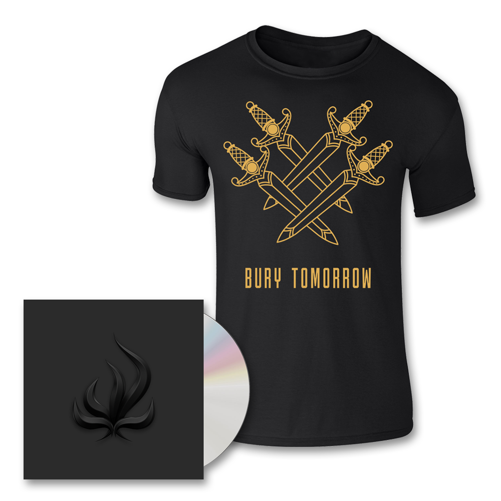 Buy Online Bury Tomorrow - Black Flame CD + Knife Of Gold T-Shirt