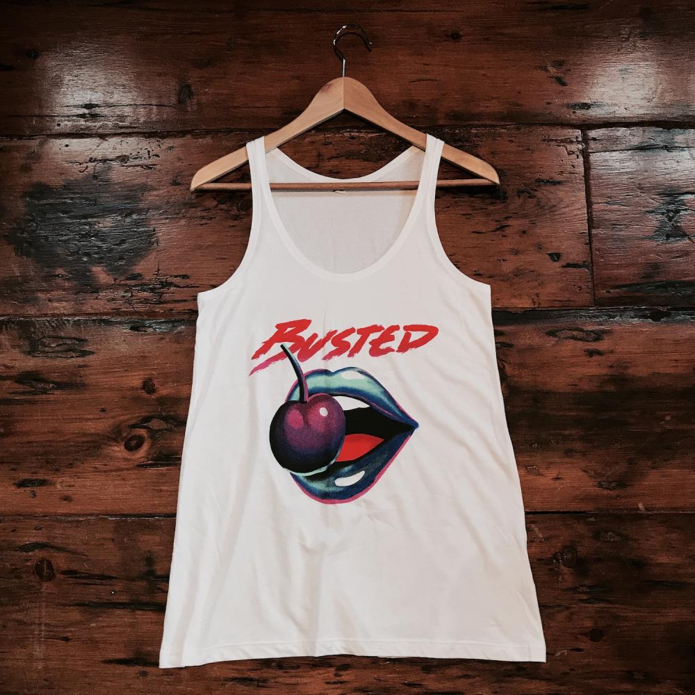 Buy Online Busted - White Big Lips Vest