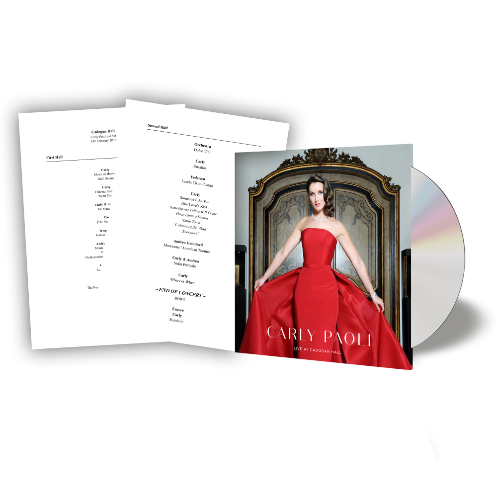 Buy Online Carly Paoli - Live At Cadogan Hall CD Album + Help For Heroes Donation + Full Cadogan Hall setlist personally signed by Carly