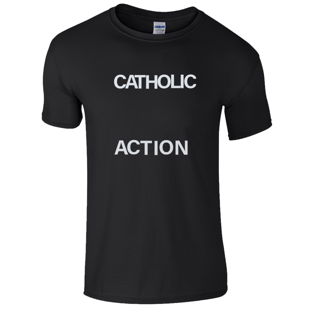 Buy Online Catholic Action - Black Logo T-Shirt