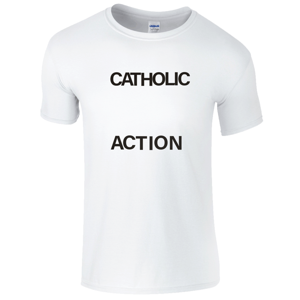 Buy Online Catholic Action - White Logo T-Shirt