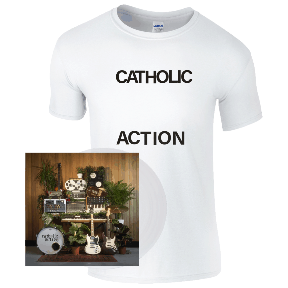 Buy Online Catholic Action - Celebrated By Strangers Clear Vinyl Album (Signed) + T-Shirt Bundle