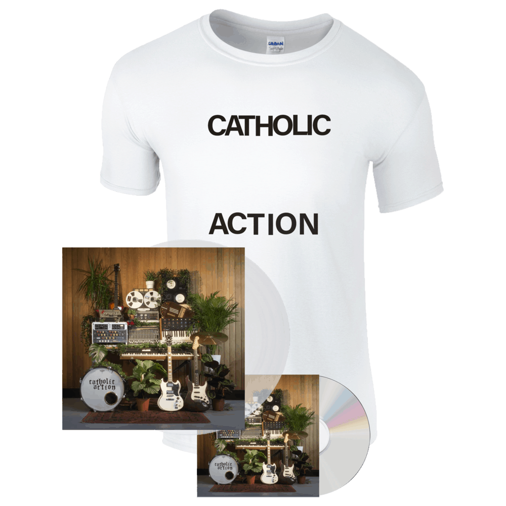 Buy Online Catholic Action - Celebrated By Strangers Vinyl Album (Signed) + CD (Signed)+ T-Shirt Bundle