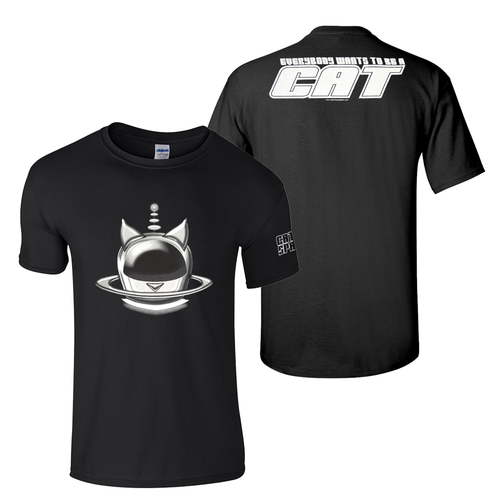Buy Online Cats In Space - Silver Halo Helmet T-Shirt (w/ Sleeve Print)