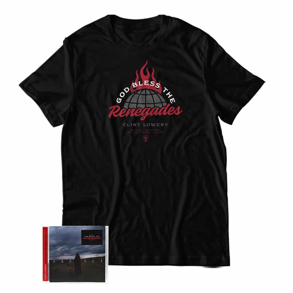 Buy Online Clint Lowery - God Bless The Renegades CD Album + T-Shirt Bundle