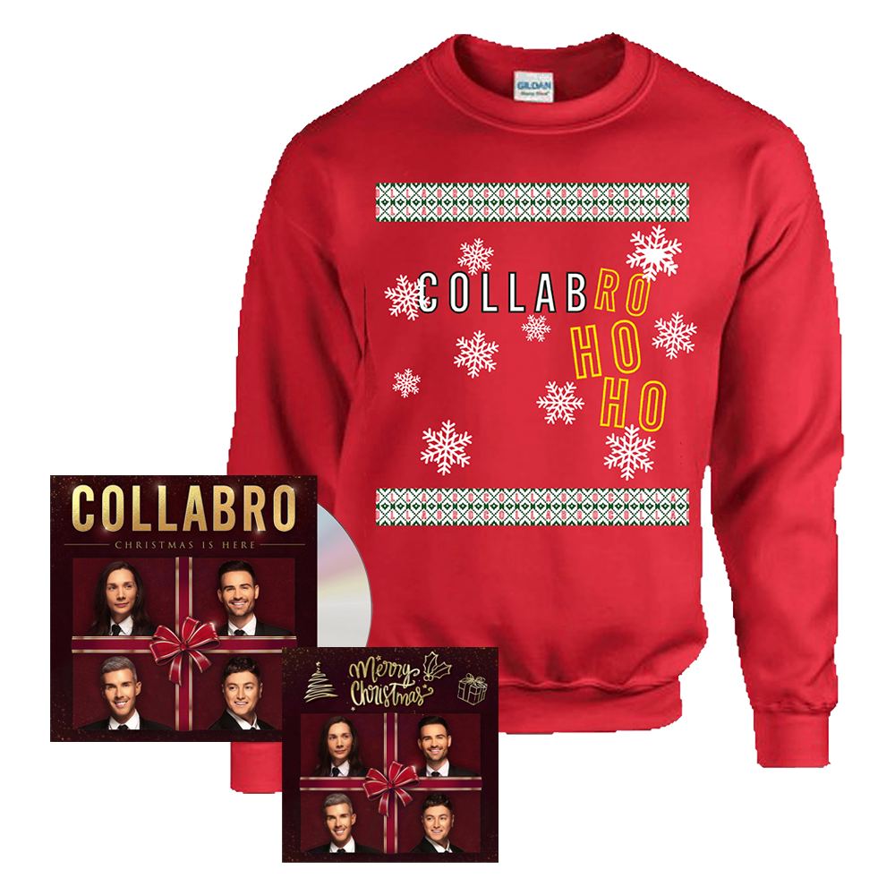 Buy Online Collabro - Christmas Is Here CD + Collabro Ho Ho Christmas Sweatshirt + Christmas Card (Signed)