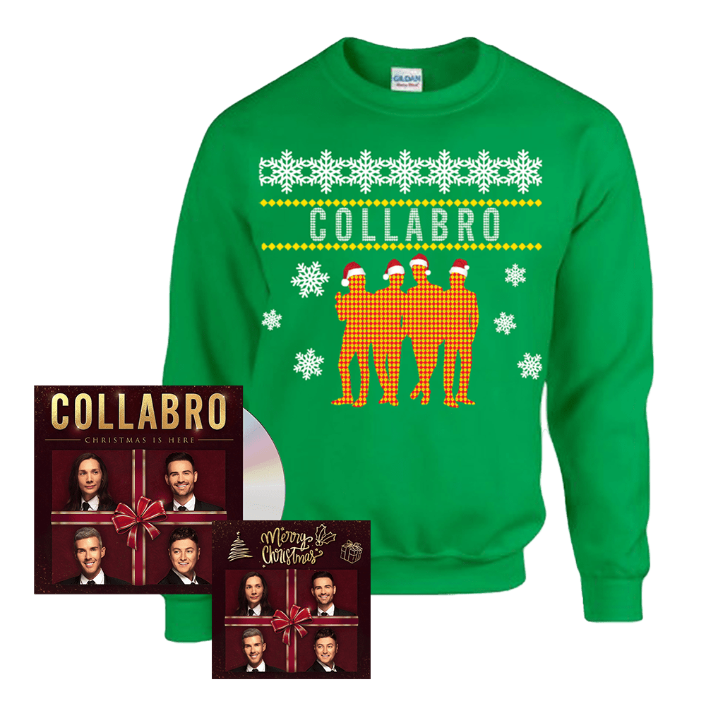 Buy Online Collabro - Christmas is Here CD + Collabro Silhouette Christmas Sweatshirt (Green) + Christmas Card (Signed)
