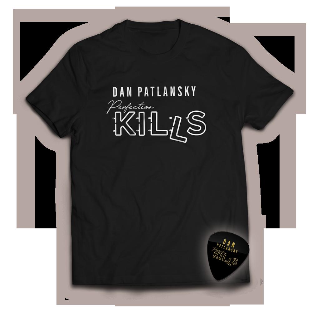 Buy Online Dan Patlanksky - Perfection Kills Black T-Shirt (Includes Store Exclusive Perfection Kills Plectrum)