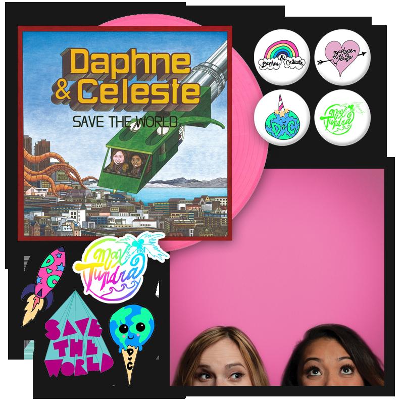 Buy Online Daphne & Celeste - Daphne & Celeste Save The World Pink Vinyl (Alt Sleeve) + Sticker Pack + Badge Pack + Picture