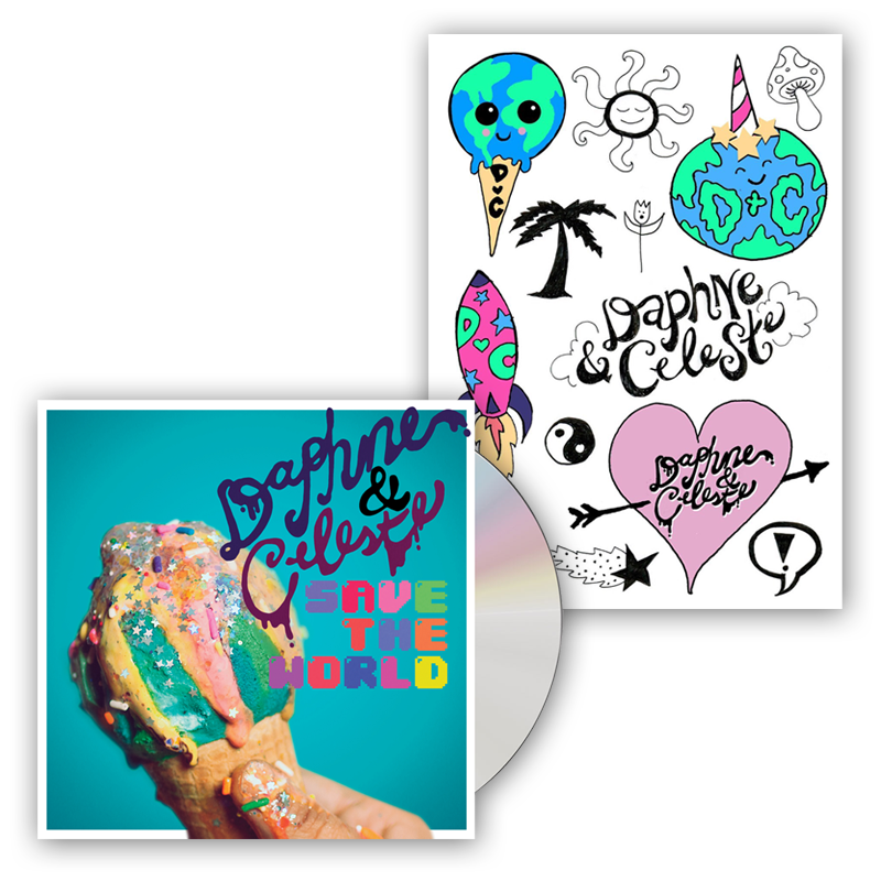 Buy Online Daphne & Celeste - Daphne & Celeste Save The World CD (Signed) + Temp Tattoo Pack
