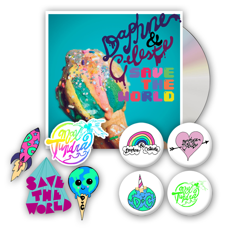 Buy Online Daphne & Celeste - Daphne & Celeste Save The World CD (Signed) + Sticker Pack + Badge Pack