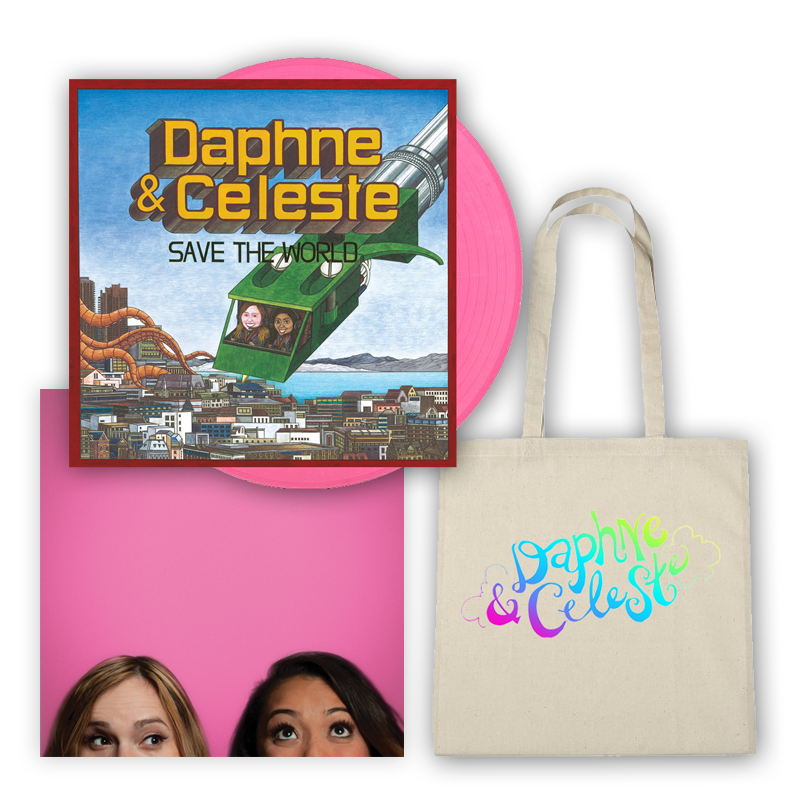 Buy Online Daphne & Celeste - Daphne & Celeste Save The World Pink Vinyl (Alt Sleeve) + Tote Bag + Picture