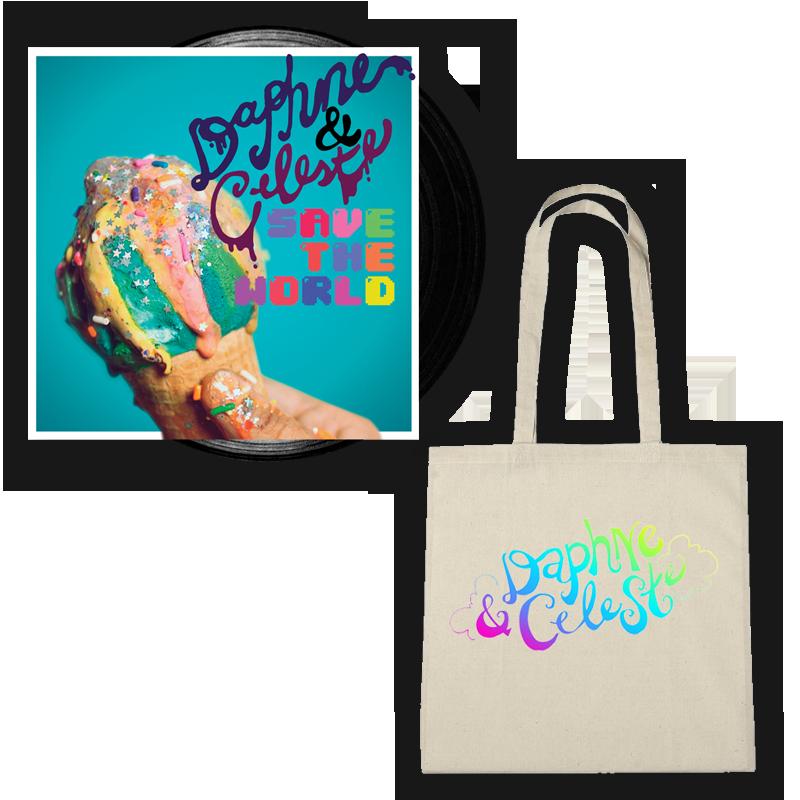 Buy Online Daphne & Celeste - Daphne & Celeste Save The World Black Vinyl + Tote Bag