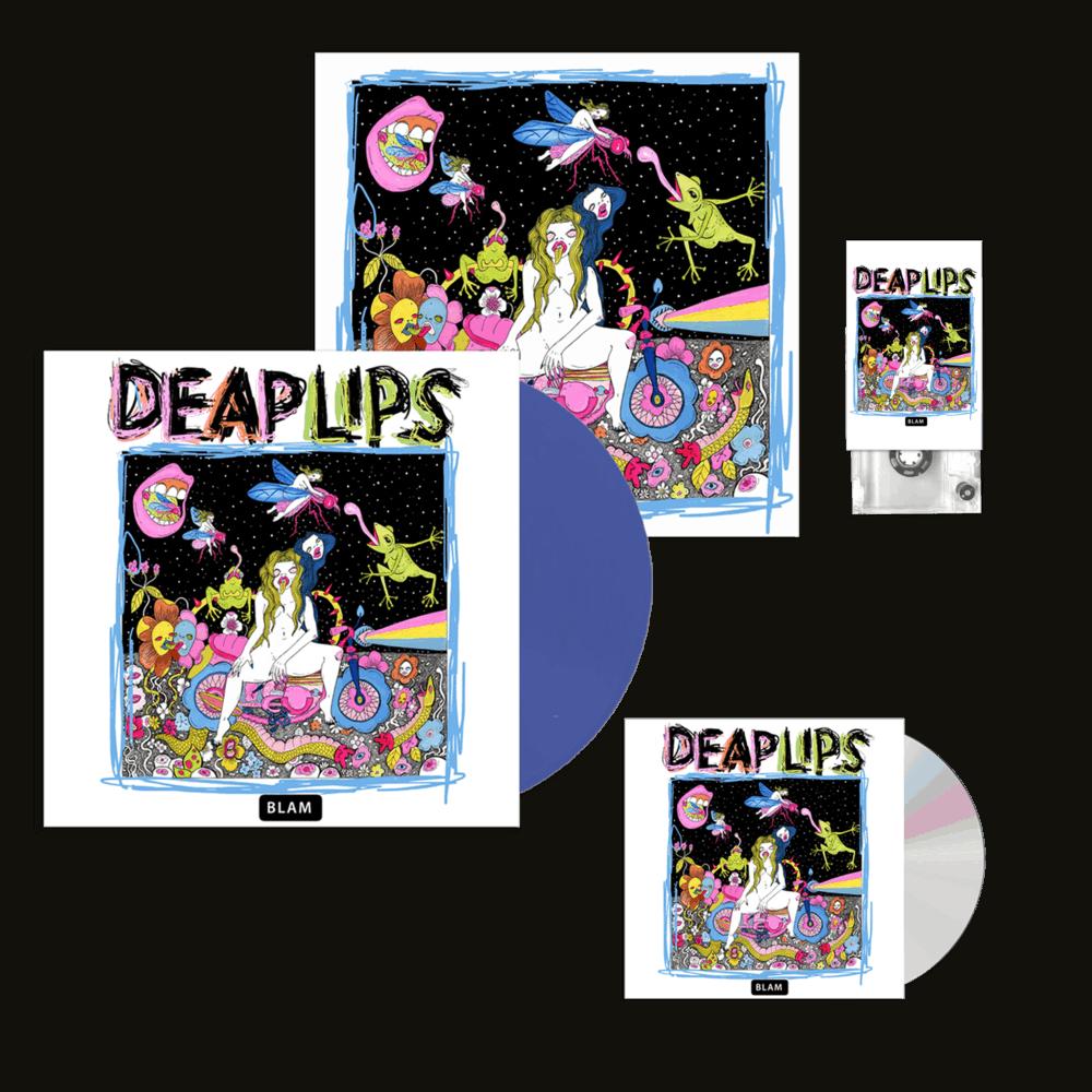 Buy Online Deap Lips - Deap Lips Blue Vinyl + CD + Cassette + 12-Inch Print (Signed)