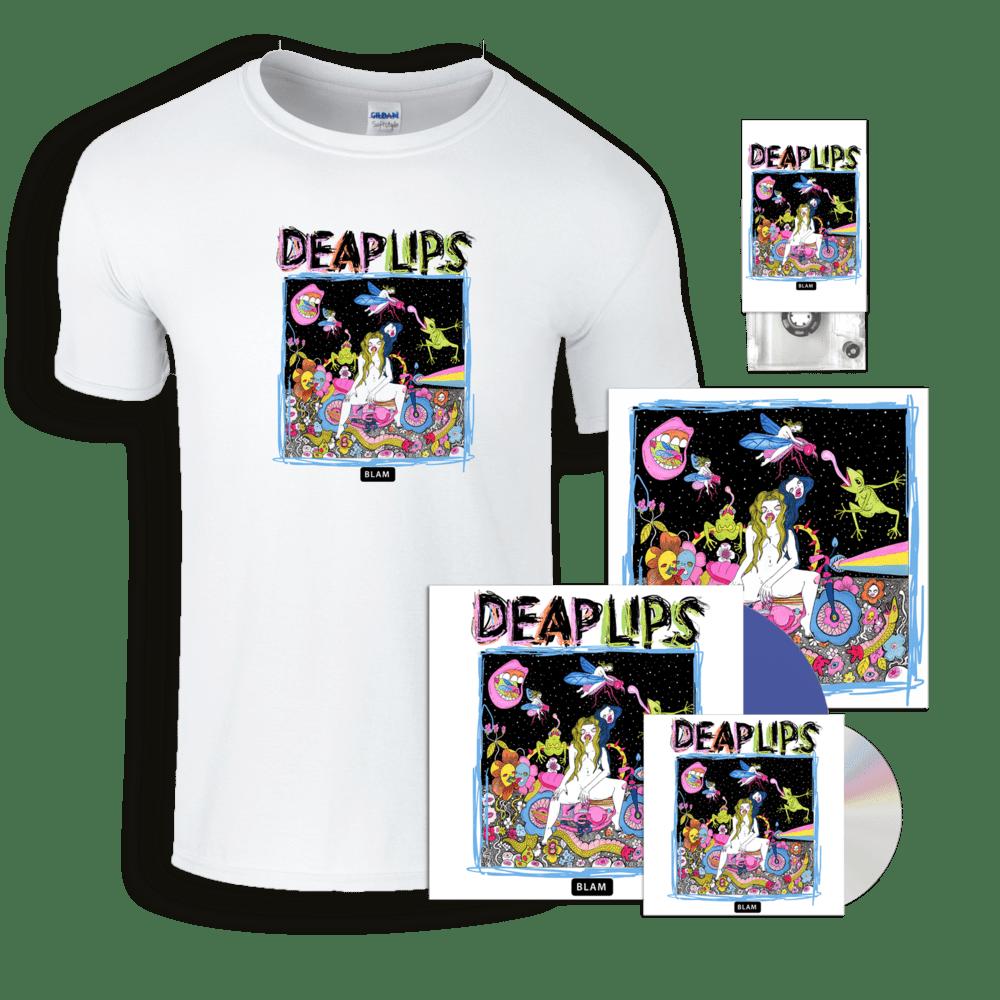 Buy Online Deap Lips - Deap Lips Blue Vinyl + CD + Cassette + T-Shirt + 12-Inch Print (Signed)