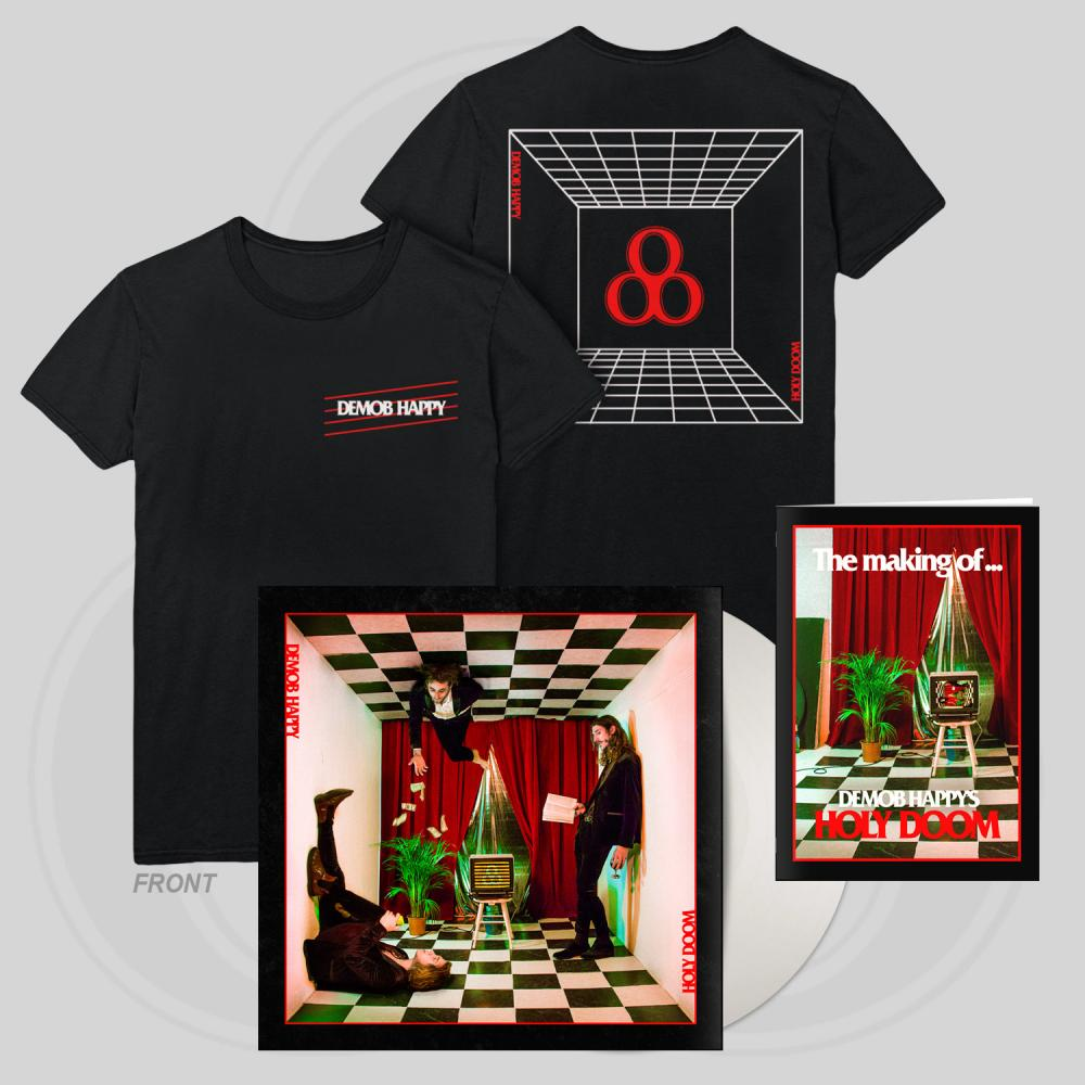Buy Online Demob Happy - Holy Doom White Vinyl LP (Signed) + T-Shirt + Zine