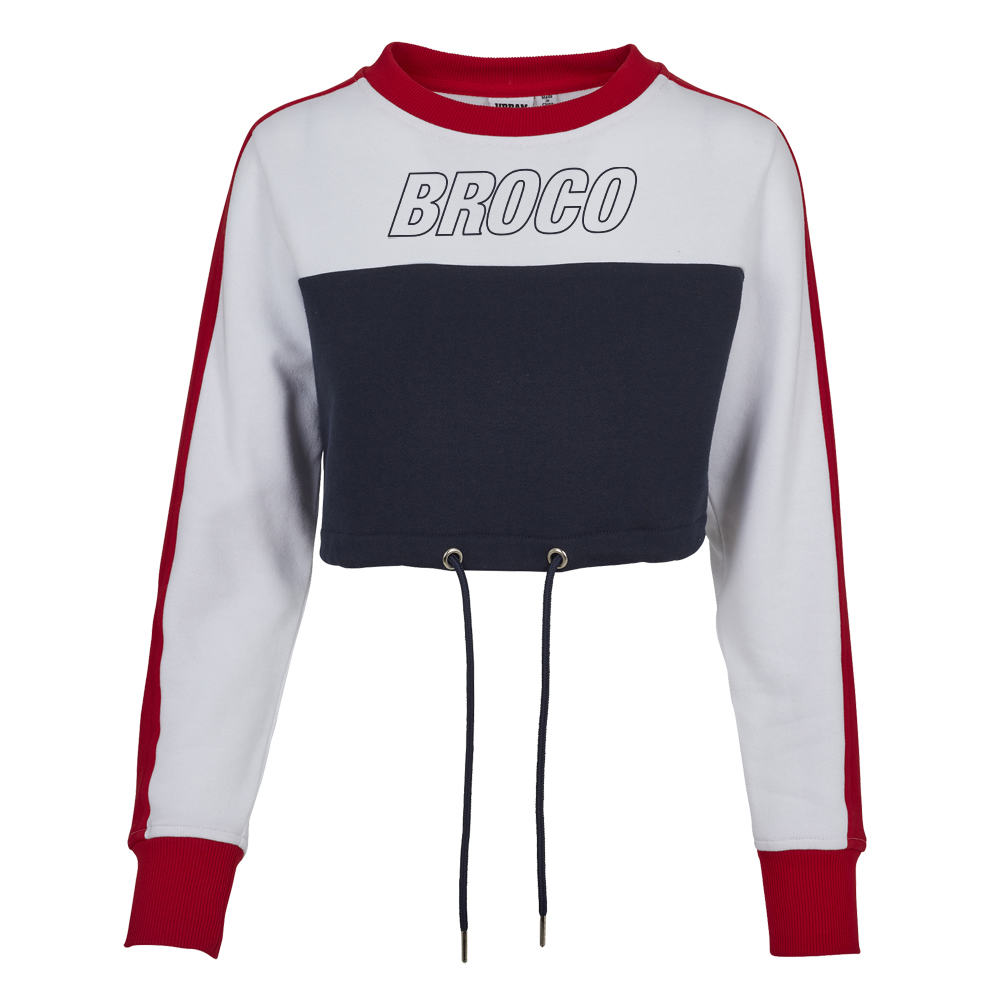 Buy Online Don Broco - Broco Girls Cropped Sweat (White/Red/Blue)