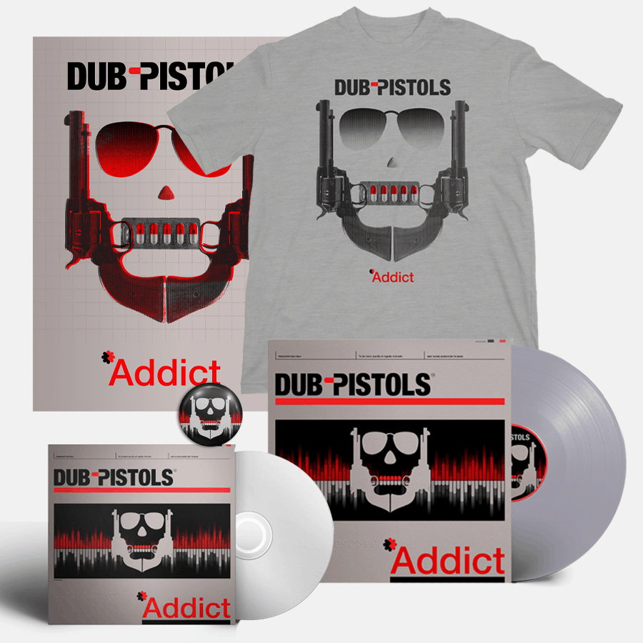 Buy Online Dub Pistols - Addict CD (Signed) + Silver Vinyl (Signed) + T-Shirt + Signed A3 Print (Inc Badge)