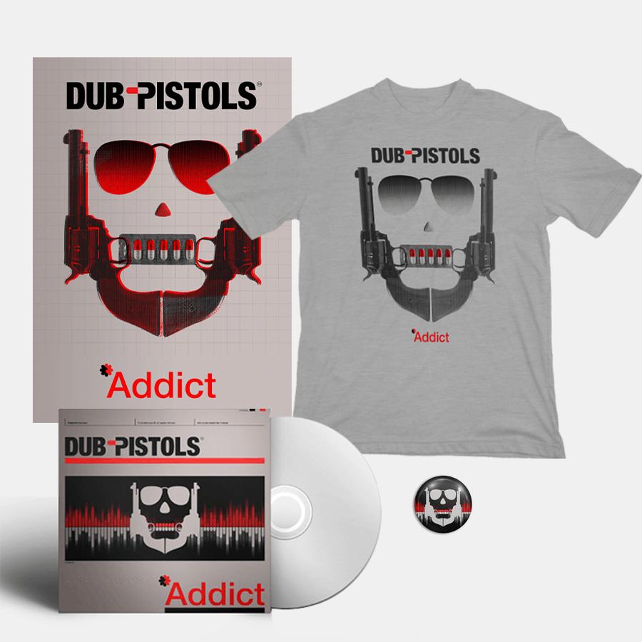 Buy Online Dub Pistols - Addict CD (Signed) + T-Shirt + Signed A3 Print (Inc Badge)