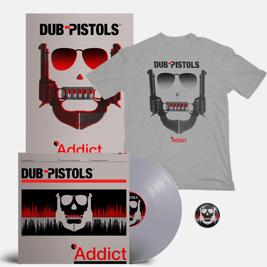 Buy Online Dub Pistols - Addict Silver Vinyl (Signed) + T-Shirt + Signed A3 Print (Inc Badge)