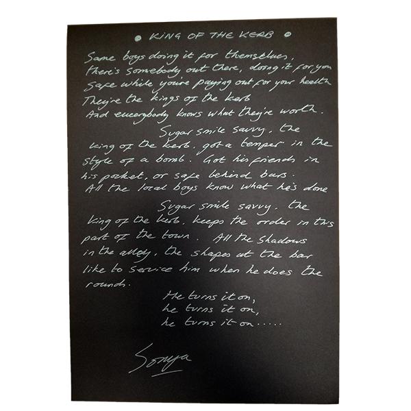 Buy Online Echobelly - Handwritten, Signed  Lyric Sheet