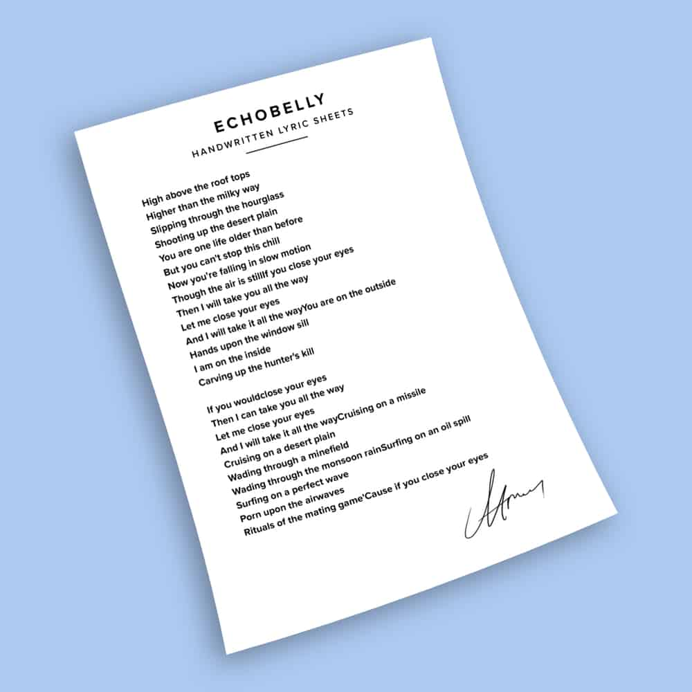 Buy Online Echobelly - People Are Expensive - Signed Handwritten Lyric Sheets