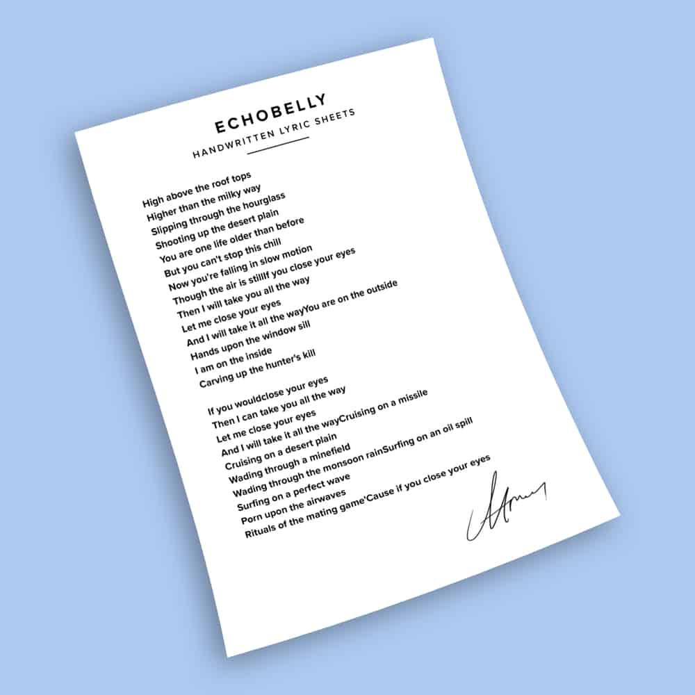 Buy Online Echobelly - Gravity Pulls - Signed Handwritten Lyric Sheets