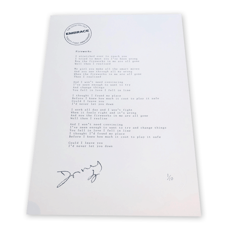 Buy Online Embrace - Fireworks Signed Typed & Numbered Lyric Sheet