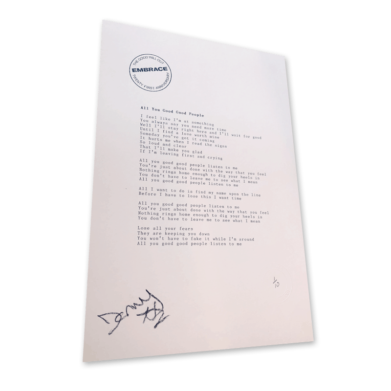 Buy Online Embrace - All You Good Good People Signed Typed & Numbered Lyric Sheet