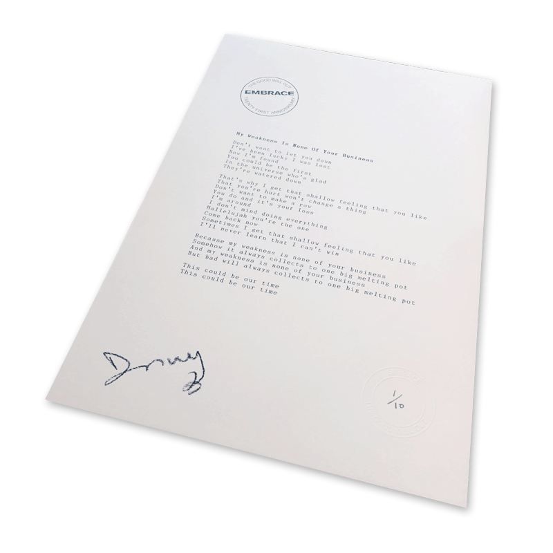 Buy Online Embrace - My Weakness Is... Signed Typed & Numbered Lyric Sheet