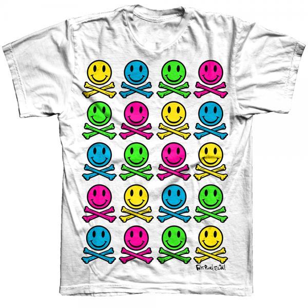 Buy Online Fatboy Slim - Multi Smiley White T-Shirt