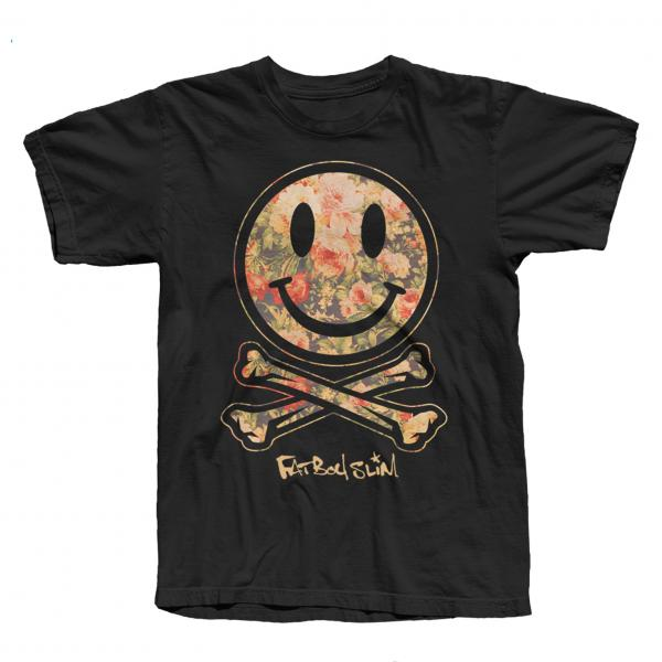 Buy Online Fatboy Slim - Black Smiley Flower T-Shirt